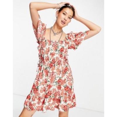 トップショップ レディース ワンピース トップス Topshop channel mini dress in floral multi Multi