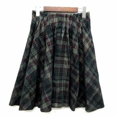 【中古】チャオパニック CIAOPANIC コーデュロイ チェック ギャザー スカート 膝丈 グリーン 緑 M レディース