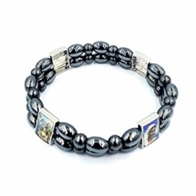 Zuluf Catholic Saints Gift Precious Natural Stones Healing Hematite Magnetic Therapy Bracelet Double Layers with Certificate   H