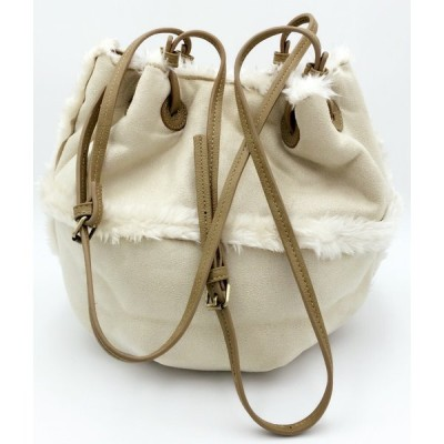 SALE企画・スエードフェルト調 フェイクファー巾着可愛いショルダーバッグ