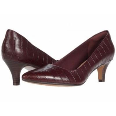 Clarks クラークス レディース 女性用 シューズ 靴 ヒール Linvale Jerica Burgundy Croc Leather【送料無料】