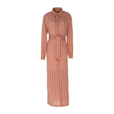 WEILI ZHENG ロングワンピース&ドレス ブラウン XS コットン 97% / ポリウレタン 3% ロングワンピース&ドレス