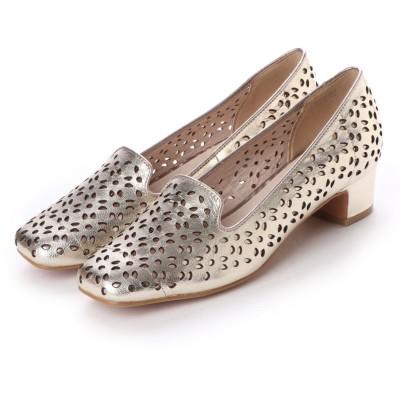 アンタイトル シューズ UNTITLED shoes レザーカットスクエアパンプス (ホワイトゴールド)