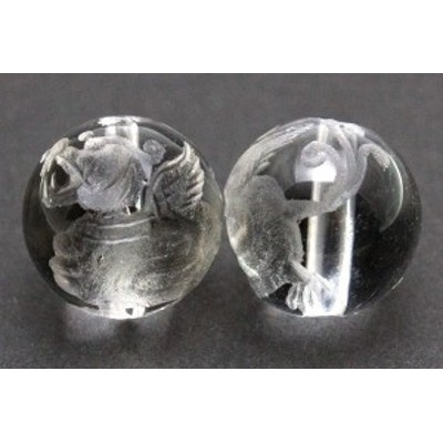天然石 ビーズ【彫刻ビーズ】水晶 10mm (素彫り) 貔貅(ひきゅう)左向き パワーストーン