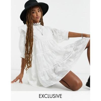 エボニーアンドアイボリー ミニドレス レディース ebonie n ivory tiered mini smock dress in tonal floral エイソス ASOS ホワイト 白