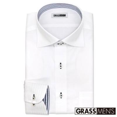 ワイシャツ メンズ 長袖 形態安定 ワイドカラー ドビー ドレスシャツ Yシャツ カッターシャツ ビ【YMD307-201】