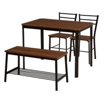 ダイニングテーブル&チェア 4点セット 〔テーブル幅100cm ブラウン〕 片側ベンチタイプ スチールパイプ 〔リビング 台所〕 〔送料無料〕