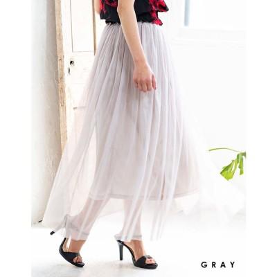 グローウィングリッチ GROWING RICH [ボトムス スカート]ふんわりダブルチュールスカート[190722]2枚重ねのチュールでふんわり可愛く (グレー)