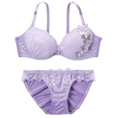 フラワーアップリケ ブラジャー・ショーツセット(B75/M) (ブラジャー&ショーツセット)Bras & Panties