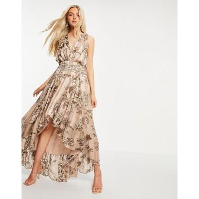 エイソス マキシドレス レディース ASOS DESIGN satin stripe printed maxi dress with macram? satin lace up エイソス ASOS