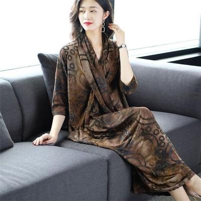 [55555SHOP]   大きいサイズ  ファッション レトロなスカートの女性の初秋2019新しい秋の気質ハイエンドスカートゆったり 中・長セクション大きなサイズのドレス