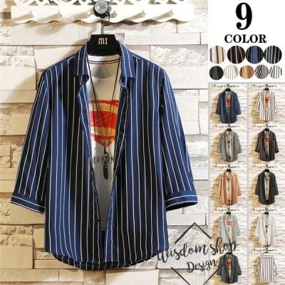 メンズ シャツ カジュアルシャツ メンズ 半袖 ストラップ カラー配色   シフォンシャツ 新作春夏 30代 40代 50代