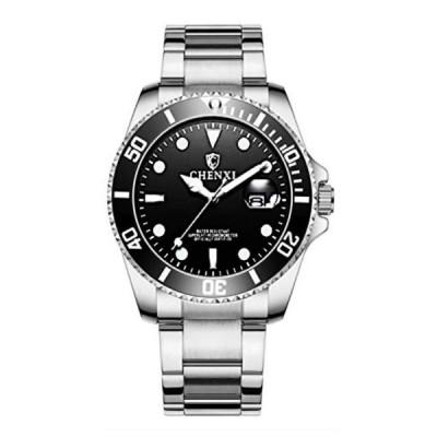 O.H 腕時計 30M防水 ダイバーズ ウォッチ デイト 日付 発光 逆回転防止 ベゼル ダイアル メタルバンド クォーツ式 メンズ