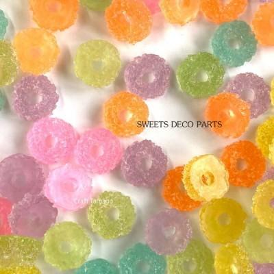 【約50g】デコパーツ お菓子 ゼリー リング カラーアソート 約35個前後 / 資材 素材 アクセサリー パーツ 材料 ハンドメイド 卸 問屋 手芸
