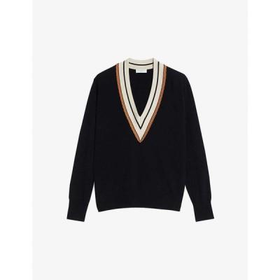 サンドロ SANDRO レディース ニット・セーター トップス Colle contrast-trim wool and cashmere-blend jumper BLACK
