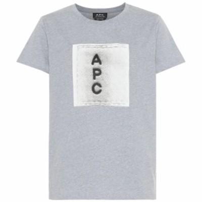 アーペーセー A.P.C. レディース Tシャツ トップス logo cotton t-shirt Gris Chine