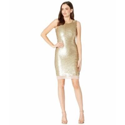 カルバンクライン レディース ワンピース トップス Sheath Sequin Dress Gold