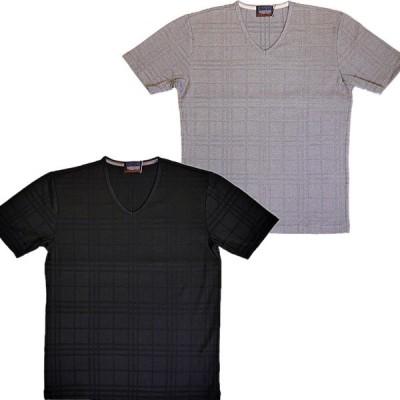 ニコルクラブフォーメン NICOLE CLUB FOR MEN リンクスチェックVネックTシャツ 0264-9705 2020春夏新作 通常販売価格:5390円