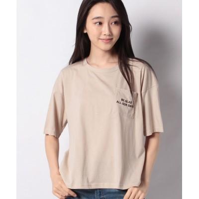 (ehka sopo/エヘカソポ)【ehka sopo】ポケット刺繍Tシャツ/レディース ベージュ