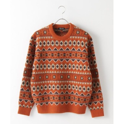 PAPAS/パパス フェアアイル柄セーター オレンジベース L