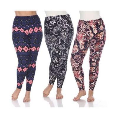 ホワイトマーク カジュアルパンツ ボトムス レディース Women's Plus Size Leggings, Pack of 3 Pink