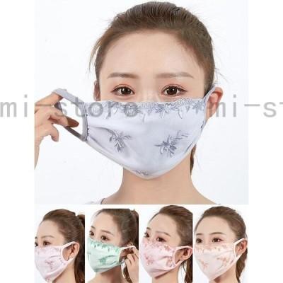 5枚セットレースマスク カバー 可愛い花柄レース レディース用マスク 洗える布マスク 3層構造 飛沫防止 花粉症ほこり防止かぜ2枚
