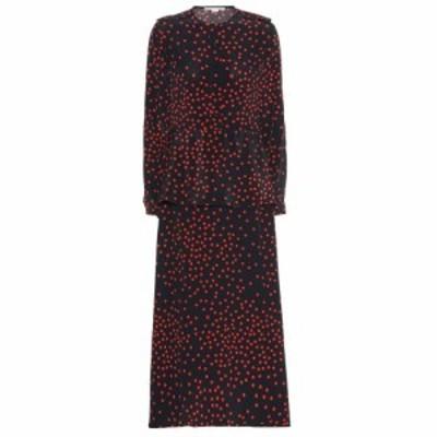 ステラ マッカートニー Stella McCartney レディース ワンピース ワンピース・ドレス Polka-dot silk-crepe maxi dress Ink/Vermillion