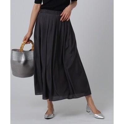 スカート [L]【洗える】タックロングスカート