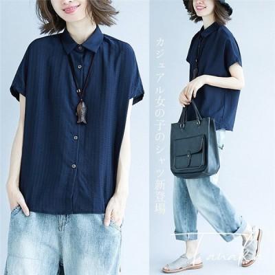 アシンメトリーシャツ レディース ブラウス 綿麻 リネン 半袖 襟付き ボタンシャツ ブラウス カジュアル wcs-055