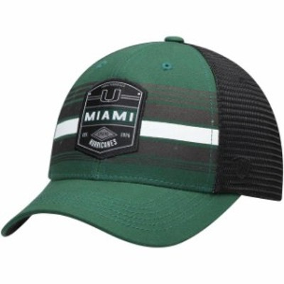 Top of the World トップ オブ ザ ワールド スポーツ用品  Top of the World Miami Hurricanes Green/Black Branded Trucker Adjustable