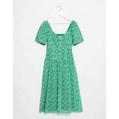 エイソス レディース ワンピース トップス ASOS DESIGN broderie button through midi tea dress in ditsy floral with rhinestone buttons