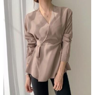 韓国 ファッション レディース ブラウス トップス Vネック リボン 長袖 ゆったり きれいめ 上品 大人可愛い 通勤 オフィス 春 新作