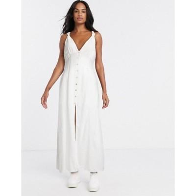 ジリ レディース ワンピース トップス Gilli button down maxi sun dress in white