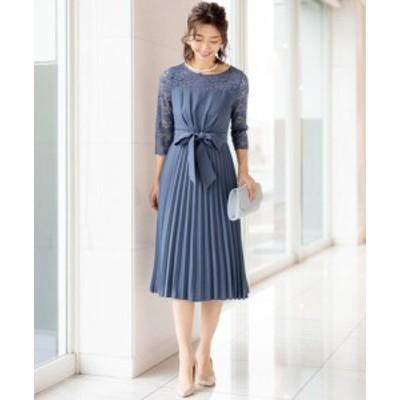お袖&ヨークレース切り替えウエストリボンプリーツスカートドレス(ワンピース) || レディースアパレル