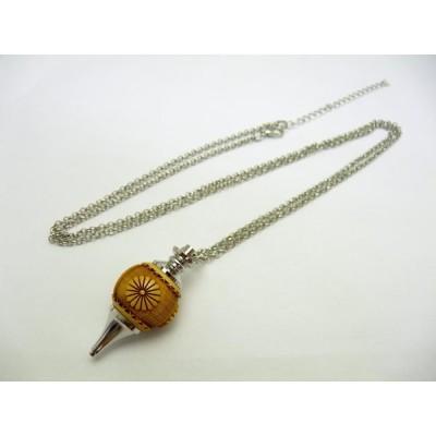 【浮彫】菊花紋章 柘植 ペンデュラム ネックレス 1個売り パワーストーン ダウジング ヒーリング