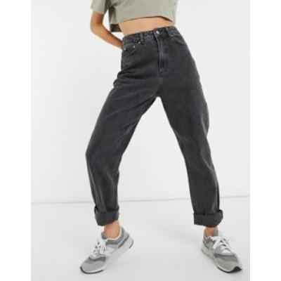 エイソス レディース デニムパンツ ボトムス ASOS DESIGN High rise 'slouchy' mom jeans in washed black Washed black