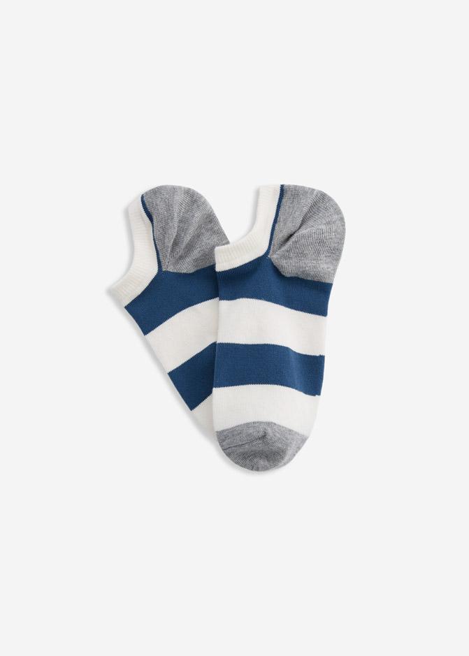 (男款)Ocean.舒棉船型襪(藍/白/灰-寬條)