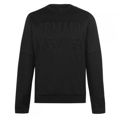 アルマーニ Armani Exchange メンズ スウェット・トレーナー トップス Embroidered Crew Sweatshirt Black