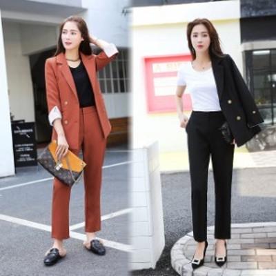 二点セット レディース セットアップ ジャケット+パンツ パンツスーツ 九分丈 フォーマル オフィス 無地 通勤 OL 韓国ファッション
