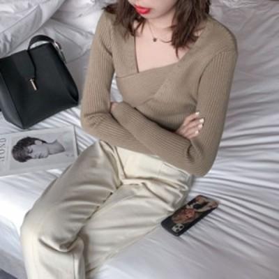 胸元のデザインがおしゃれ ニット リブニット セーター 長袖 大人 セクシー レディース 冬 春