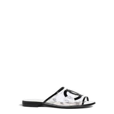 シャネル CHANEL ミュール シューズ 靴 PVC パテント トランスペアレント ブラック
