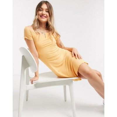 ピンキー ミニドレス レディース Pimkie notch front jersey mini dress in peach エイソス ASOS オレンジ