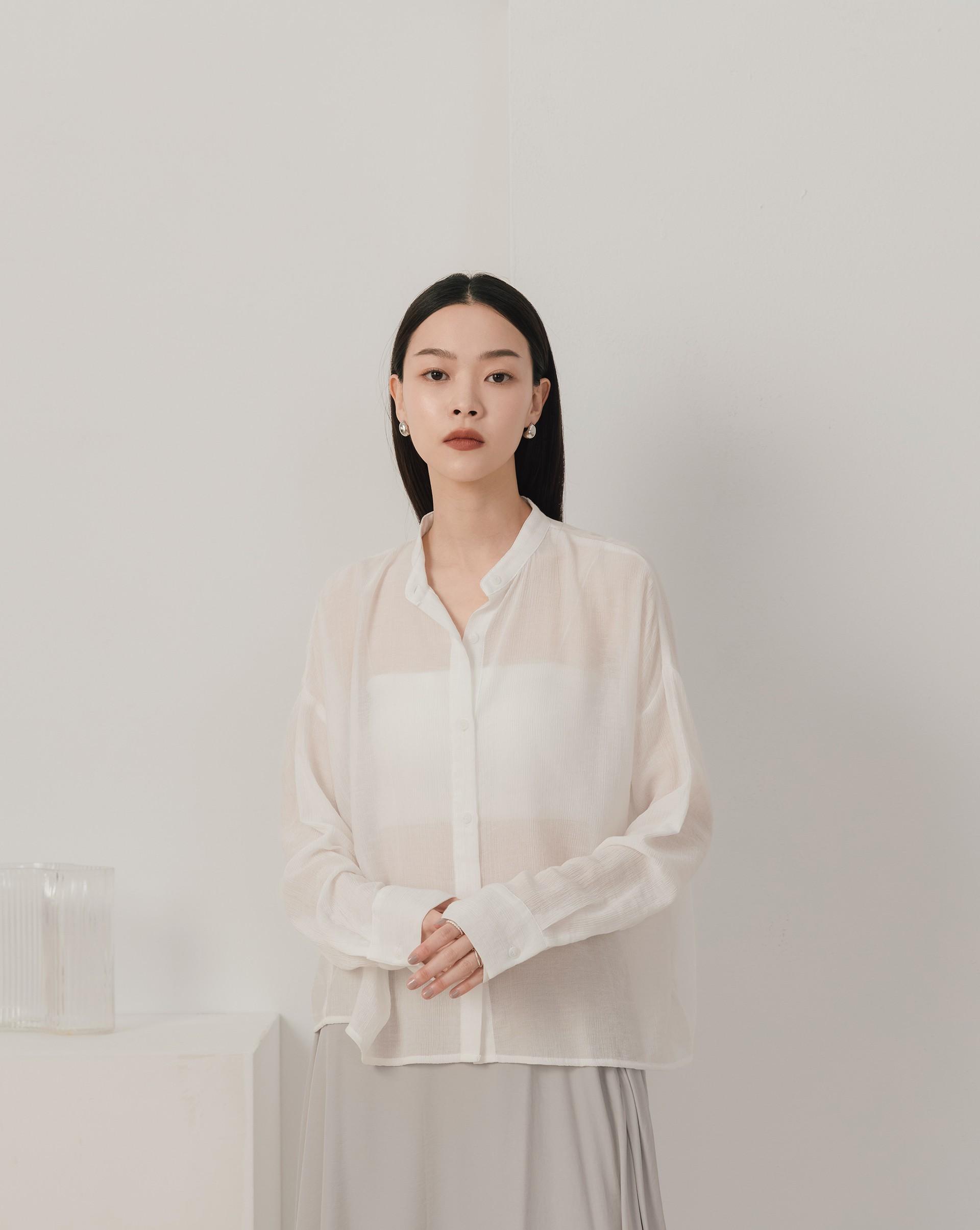 透膚簡約長袖襯衫-Meierq