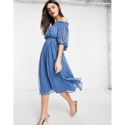 エイソス ASOS DESIGN レディース ワンピース ミドル丈 ワンピース・ドレス Off shoulder midi dress with blouson sleeve in self stripe ブルー