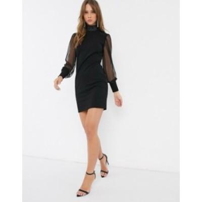 リバーアイランド レディース ワンピース トップス River Island embellished mesh sleeve dress in black Black