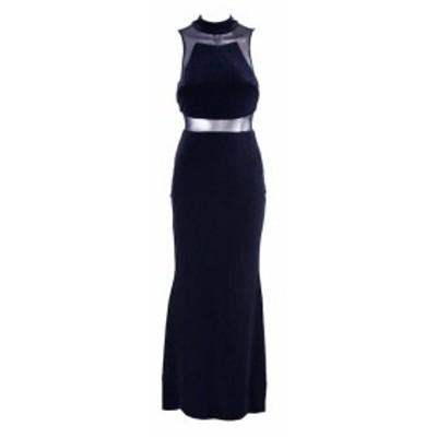 Adam  ファッション ドレス Betsy Adam Navy Illusion Cutouts Gown 12