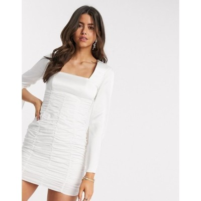 エイソス レディース ワンピース トップス ASOS DESIGN ruched mini dress with satin top and split sleeve in ivory