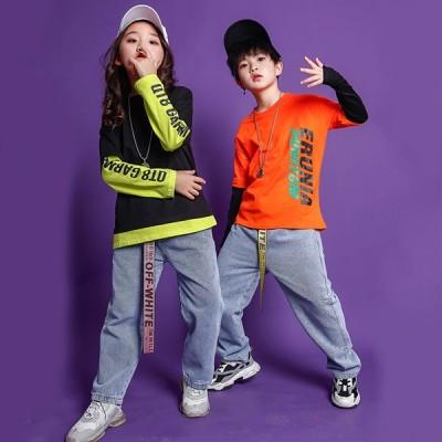キッズ ヒップホップ デニム パンツ ダンス 衣装 ダンス 衣装 ヒップホップ 韓国 キッズダンス衣装 トップス