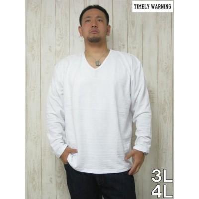 (本州四国九州送料無料)長袖 Tシャツ 大きいサイズ  TIMELY WARNING(タイムリーワーニング)エスニック リンクス VネックロンTEE<オフホワイト>