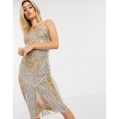 スターレット レディース ワンピース トップス Starlet embellished bandeau mini dress in gold